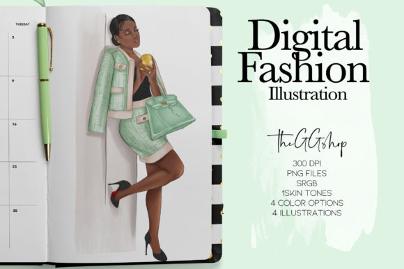 Print on Demand: Fashion Girl Clipart Graphic Illustrations By TheGGShop - Image 1