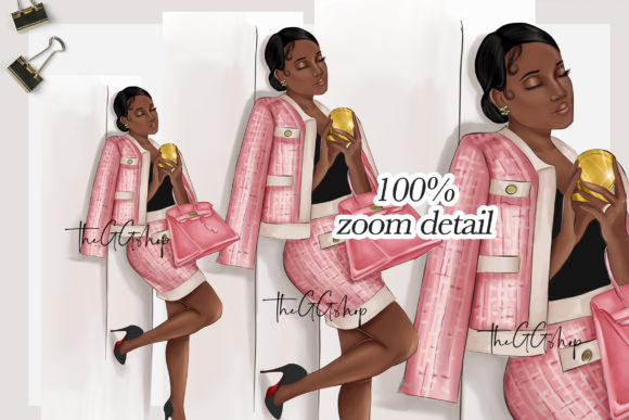 Print on Demand: Fashion Girl Clipart Graphic Illustrations By TheGGShop - Image 4
