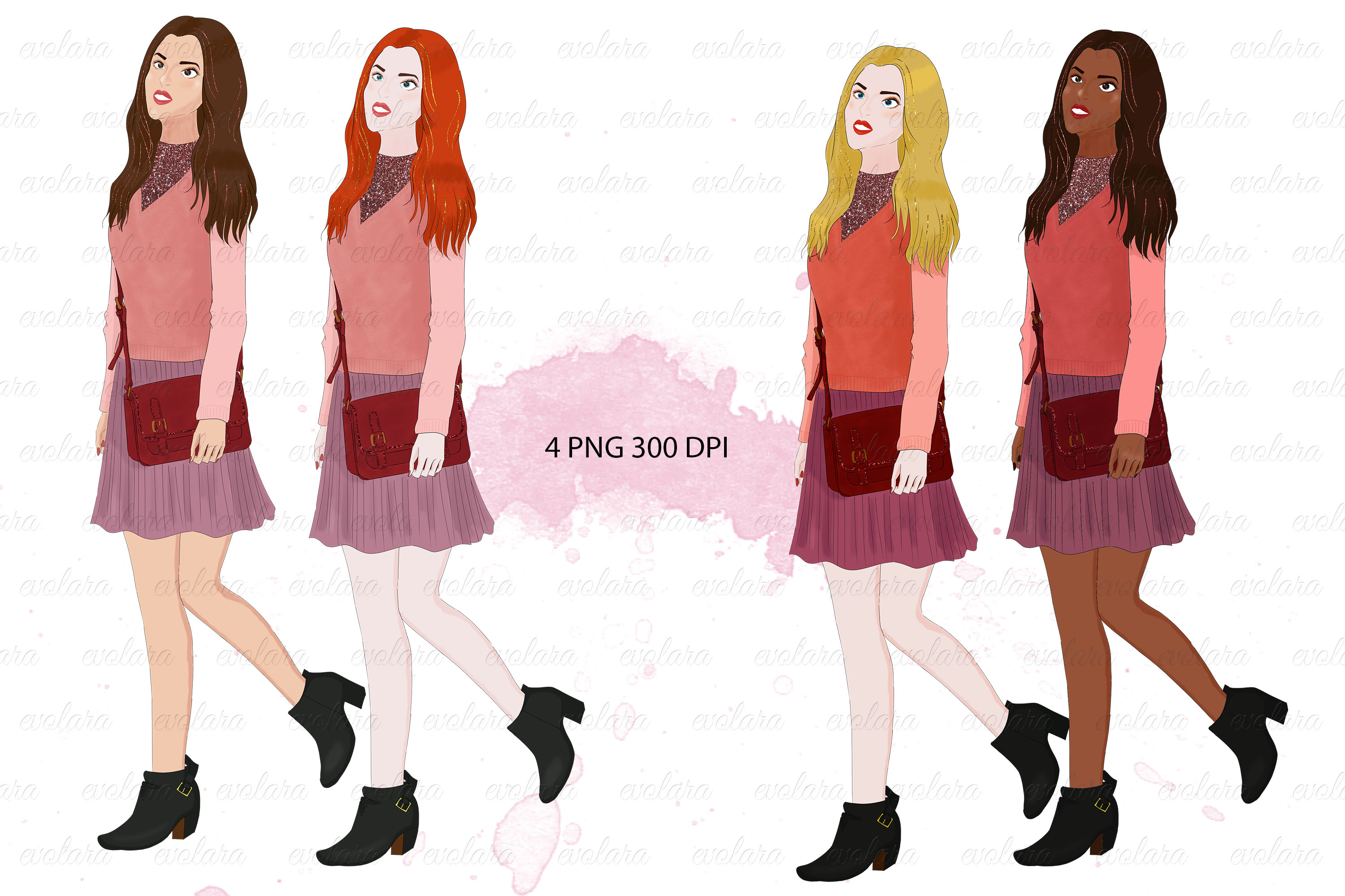 Download Free Fashion Girl School Girl Clipart Graphic By Evolara Creative for Cricut Explore, Silhouette and other cutting machines.