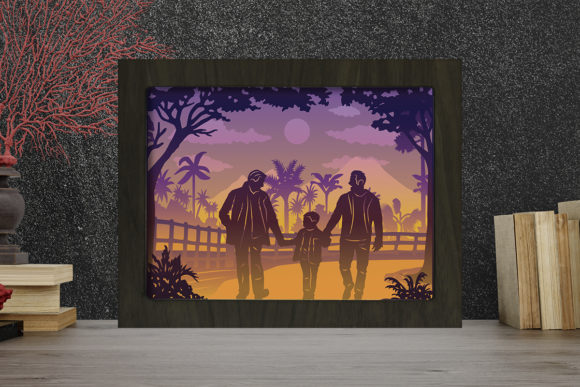Father Day 2 Light Box Shadow Box Graphic 3D Shadow Box By LightBoxGoodMan