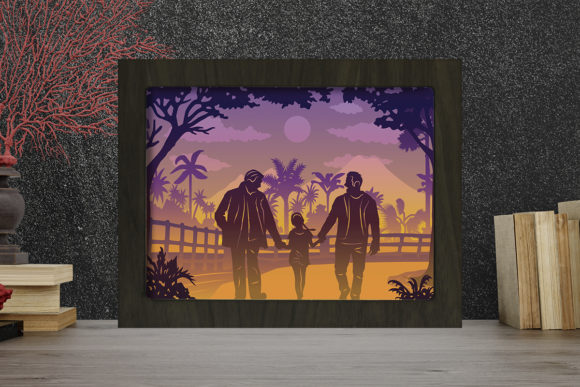 Father Day 3 Light Box Shadow Box Grafik 3D Schattenbox von LightBoxGoodMan