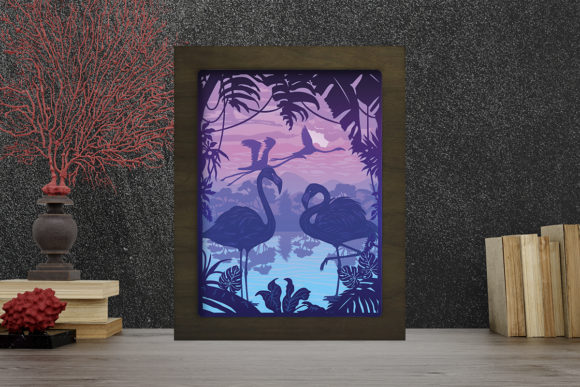 Flamingo 1 Light Box Shadow Box Graphic 3D Shadow Box By LightBoxGoodMan