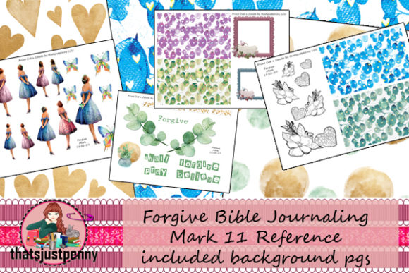 Forgive Bible Journaling PrintCutnCreate Graphic Backgrounds By thatsjustpenny