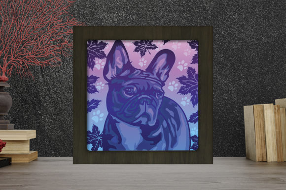 French Bulldog Light Box Shadow Box Grafik 3D Schattenbox von LightBoxGoodMan