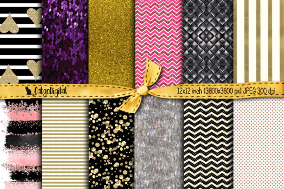 Print on Demand: Glam Printable Papers Digital Scrapbooking Graphic Backgrounds By CatgoDigital