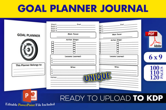 Goal Planner Goal Journal | KDP Interior Graphic KDP Interiors By Beast Designer
