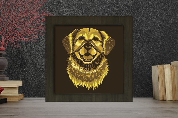 Golden Retriever Light Box Shadow Box Grafik 3D Schattenbox von LightBoxGoodMan