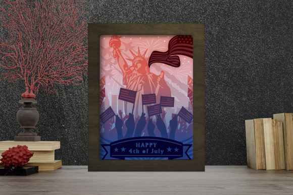 Happy 4th of July Light Box Shadow Box Grafik 3D Schattenbox von LightBoxGoodMan