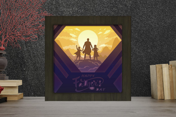 Happy Father's Day Light Box Shadow Box Grafik 3D Schattenbox von LightBoxGoodMan