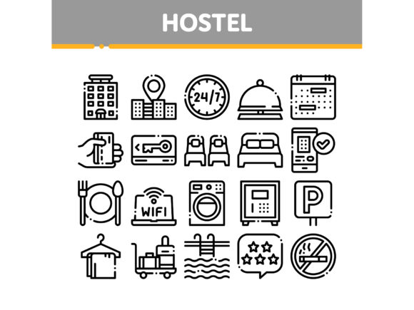 Hostel Elements Vector Sign Icons Set Graphic Icons By pikepicture