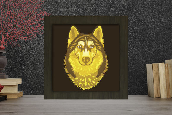 Husky Portrait Light Box Shadow Box Grafik 3D Schattenbox von LightBoxGoodMan