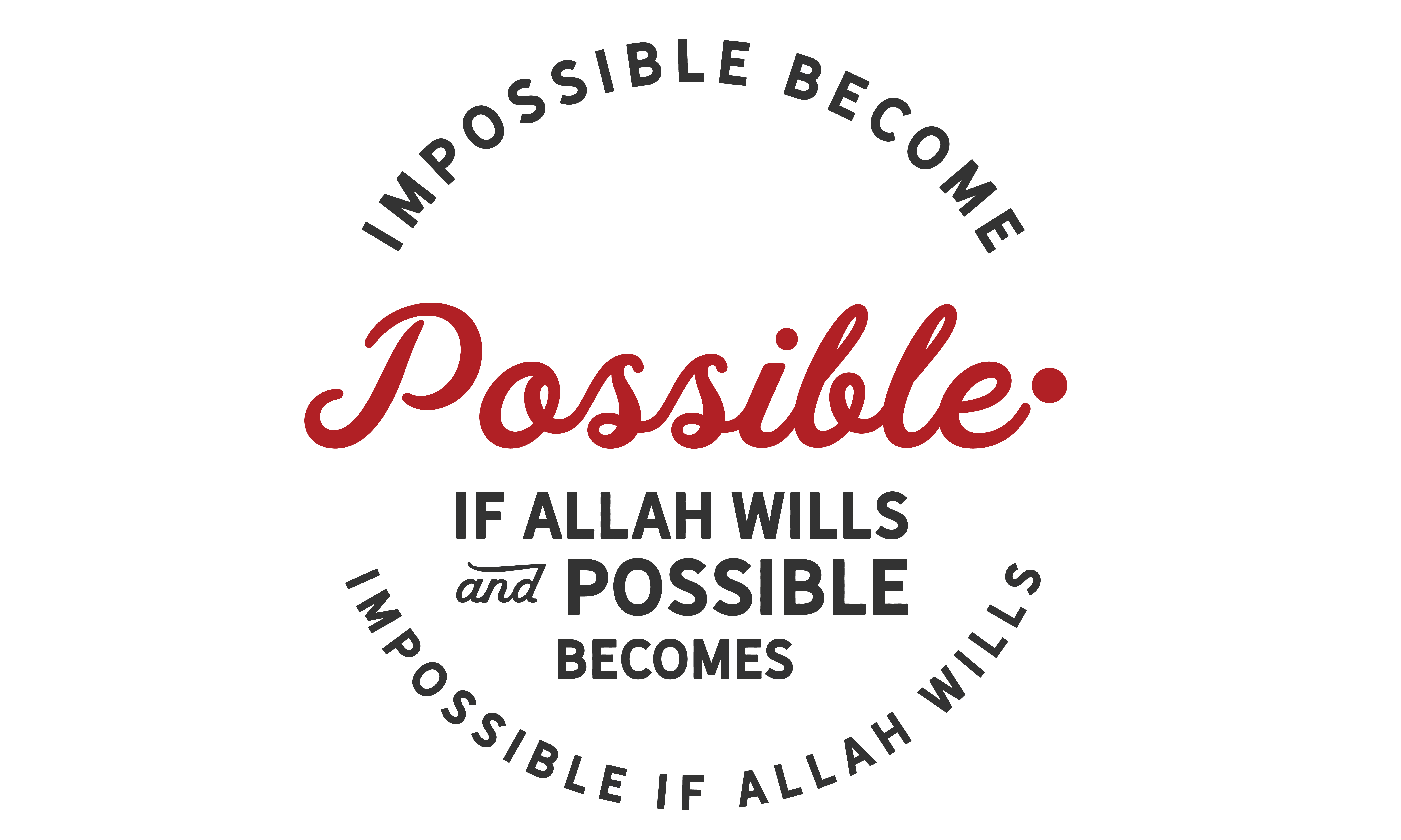 Download Free Impossible Becomes Possible If Allah Wil Graphic By Baraeiji for Cricut Explore, Silhouette and other cutting machines.