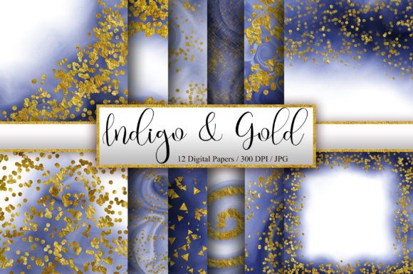 Indigo Ombre Gold Glitter Background Graphic Backgrounds By PinkPearly