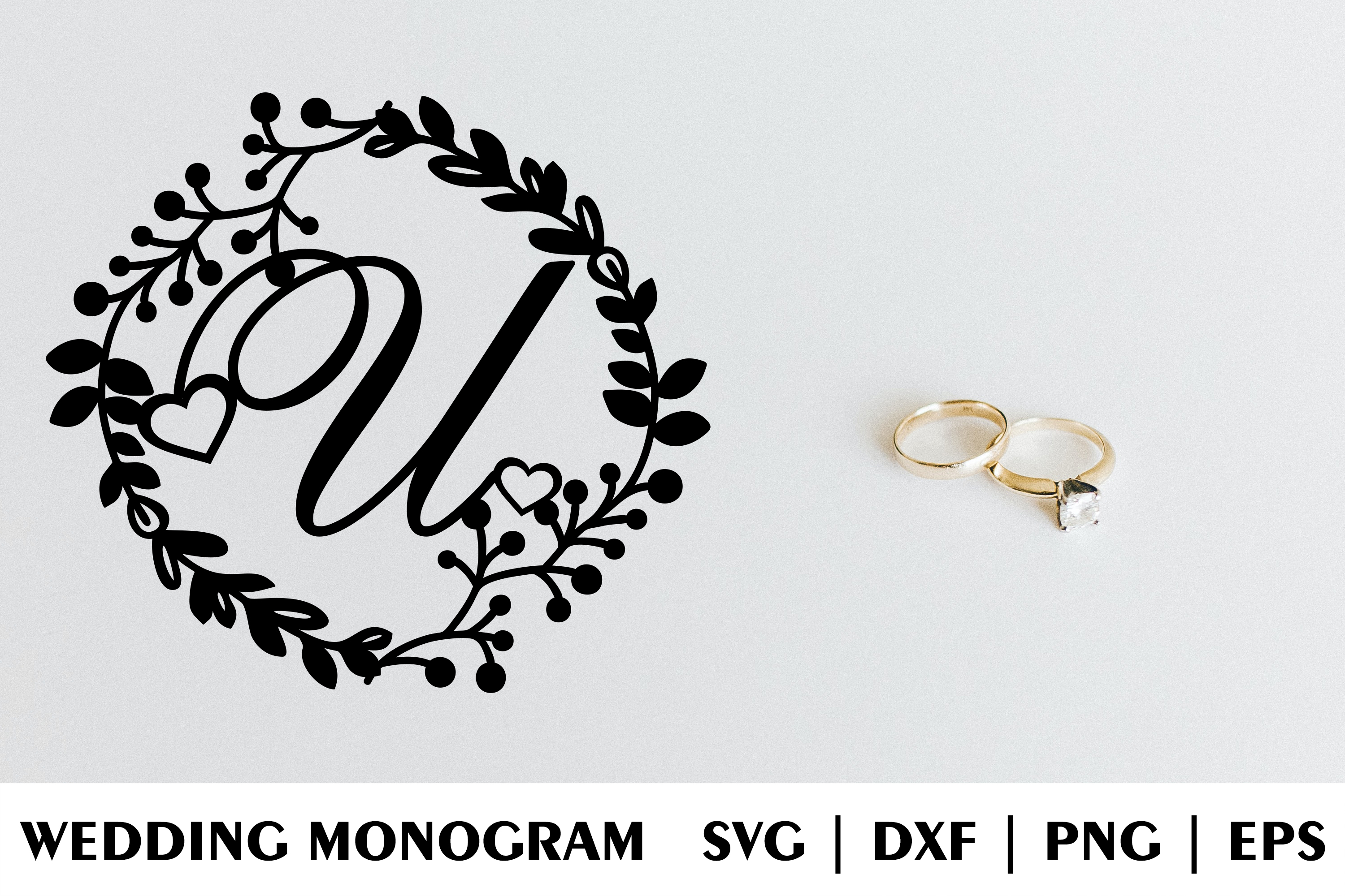 Download Free Letter U Of Wedding Decorative Monogram Graphic By Julimur2020 for Cricut Explore, Silhouette and other cutting machines.