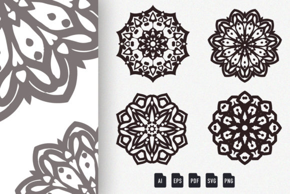 Download Free Mandala Art Set 9 Designs Graphic By Dwikrisdiantoro9 Creative for Cricut Explore, Silhouette and other cutting machines.