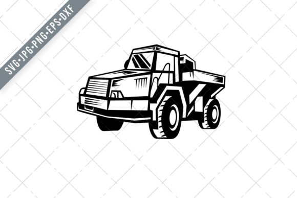 Download Free Mining Dump Truck Retro Woodcut Graphic By Patrimonio Creative SVG Cut Files