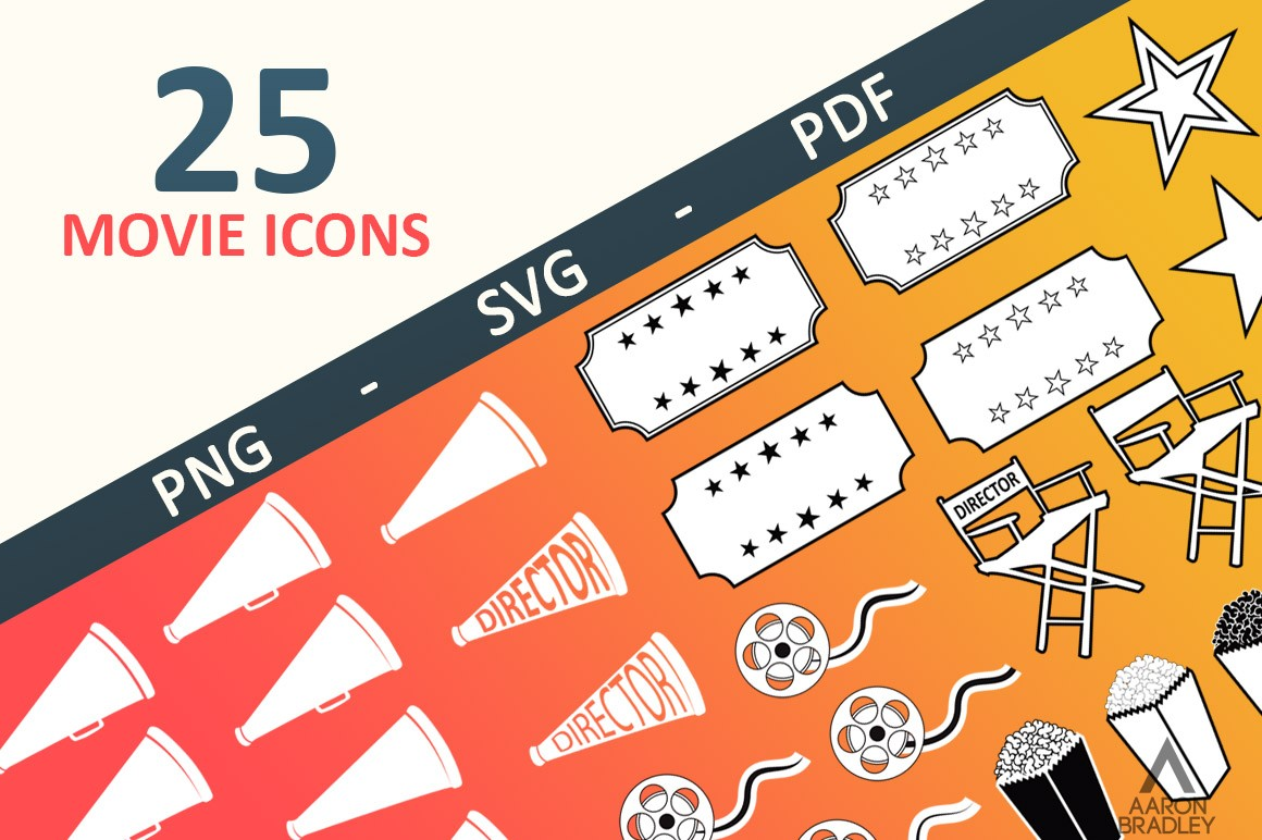 Download Free Movie Icons Graphic By Aaronb Creative Fabrica for Cricut Explore, Silhouette and other cutting machines.