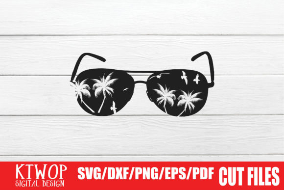 Print on Demand: Palm Tree Sunset Aviator Glasses Graphic Crafts By KtwoP