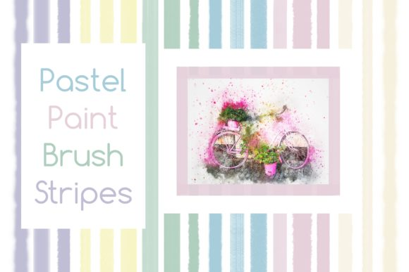 Print on Demand: Pastel Paint Brush Stripes Graphic Crafts By emmie.norfolk