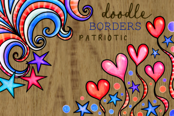Print on Demand: Patriotic American July Fourth Borders Grafik Hintegründe von Prawny