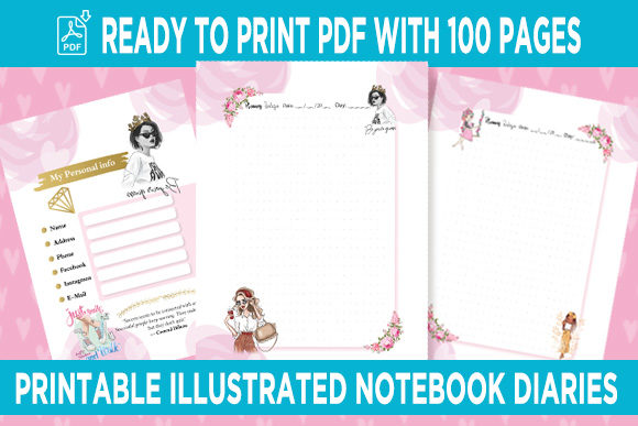 Print on Demand: Planner Notebook Interior Illustrations Graphic Print Templates By Queen Dreams Store