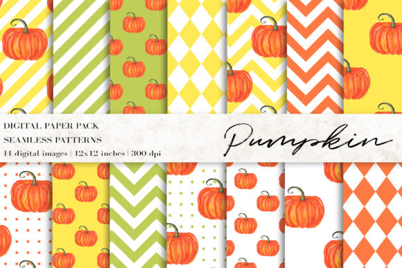 Pumpkin Digital Papers Graphic Patterns By BonaDesigns