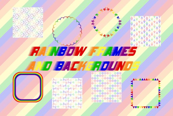 Print on Demand: Rainbow Backgrounds and Frames Graphic Crafts By emmie.norfolk