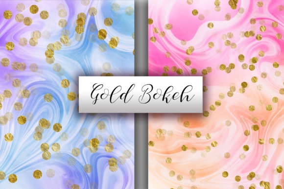 Rainbow Marble Gold Bokeh Background Graphic Backgrounds By PinkPearly - Image 2