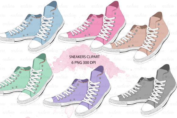 Shoes Clipart Sneakers Clipart Sneaker Graphic Illustrations By evolara - Image 1