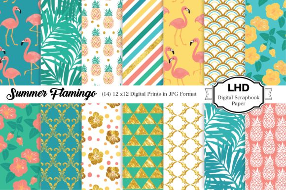 Summer Flamingo Digital Paper Patterns Graphic Patterns By LeskaHamatyDesign