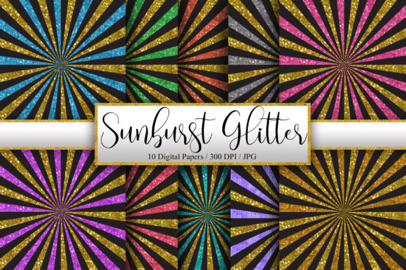 Sunburst Gold Glitter Background Graphic Patterns By PinkPearly