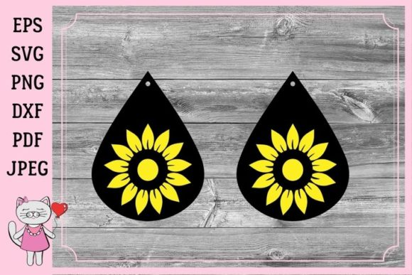 Download Free Sunflower Earrings Graphic By Magic World Of Design Creative for Cricut Explore, Silhouette and other cutting machines.