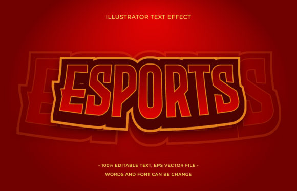 Text Effect - Esports Red Graphic Add-ons By aalfndi