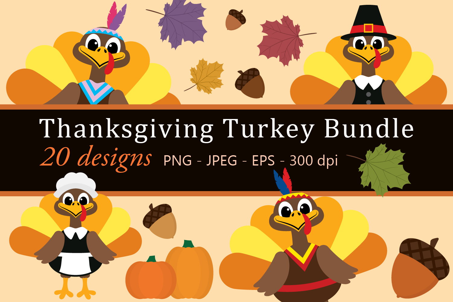 Download Free Thanksgiving Turkey Bundle Clipart Graphic By Captaincreative for Cricut Explore, Silhouette and other cutting machines.