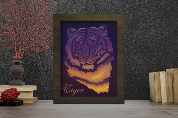 Tiger 1 Light Box Shadow Box Grafik 3D Schattenbox von LightBoxGoodMan