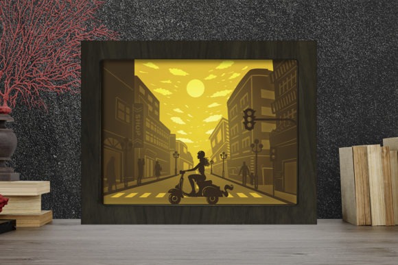Vespa Girl Light Box Shadow Box Grafik 3D Schattenbox von LightBoxGoodMan