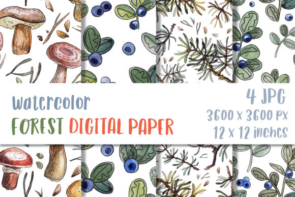 Watercolor Forest Digital Paper Pattern Graphic Crafts By GreenWolf Art