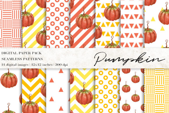 Watercolor Pumpkin Digital Papers Graphic Patterns By BonaDesigns
