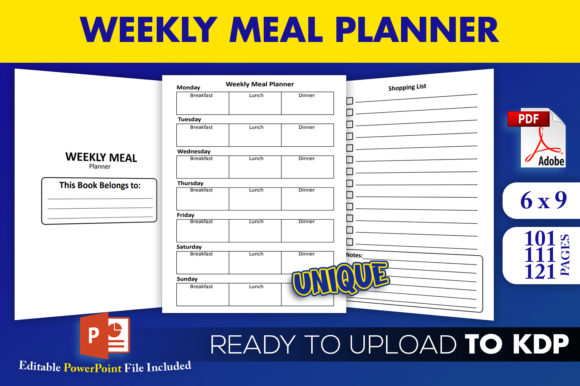 Print on Demand: Weekly Meal Planner Diary | KDP Interior Graphic KDP Interiors By Beast Designer
