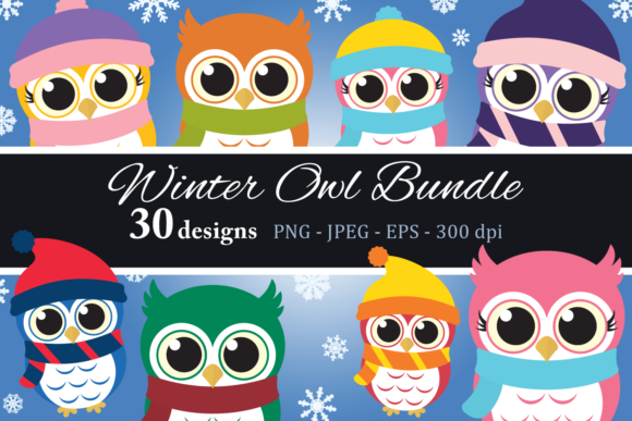 Download Free Winter Owl Bundle Clipart Graphic By Captaincreative Creative for Cricut Explore, Silhouette and other cutting machines.