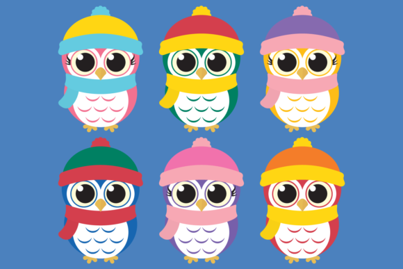 Download Free Winter Owl Bundle Clipart Graphic By Captaincreative Creative SVG Cut Files