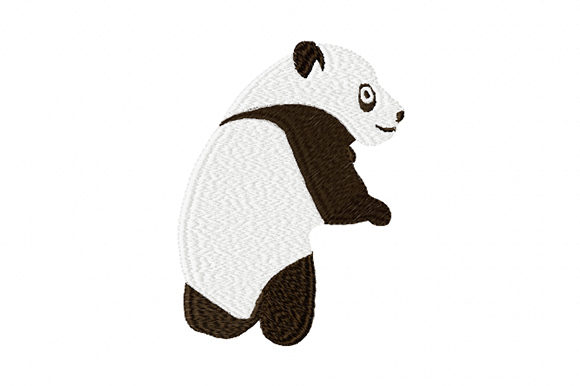 Print on Demand: Young Cute Panda Wild Animals Embroidery Design By EmbArt