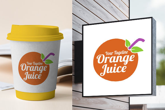 Print on Demand: Orange Juice Fresh Logo Design Template Graphic Logos By fatrin99art