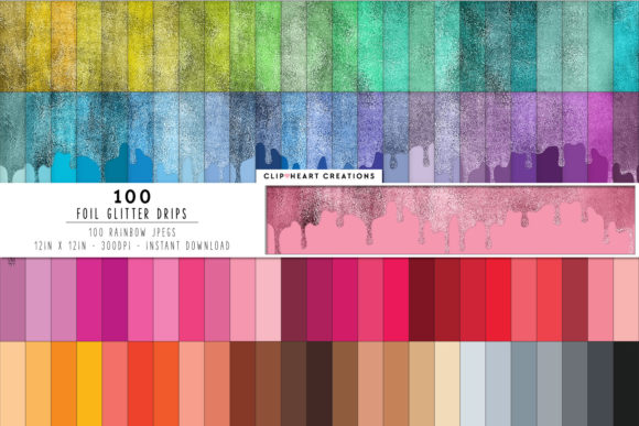 100 Foil Drip Digital Papers Graphic Backgrounds By clipheartcreations