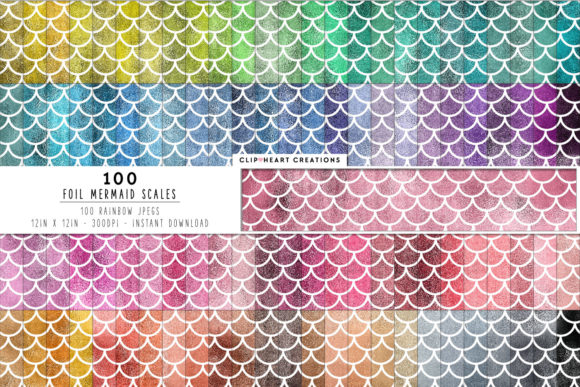100 Foil Mermaid Scales Digital Papers Graphic Backgrounds By clipheartcreations