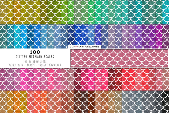 100 Glitter Mermaid Scales Graphic Backgrounds By clipheartcreations