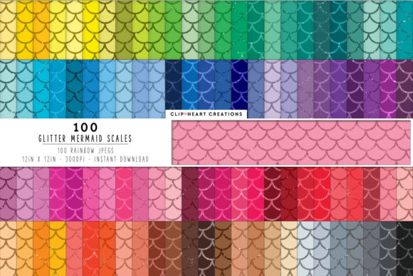 100 Glitter Mermaid Scales Papers Graphic Backgrounds By clipheartcreations