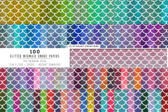 100 Glitter Ombre Mermaid Scales Graphic Backgrounds By clipheartcreations