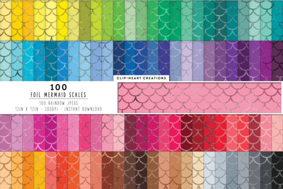 100 Mermaid Foil Scales Papers Graphic Backgrounds By clipheartcreations