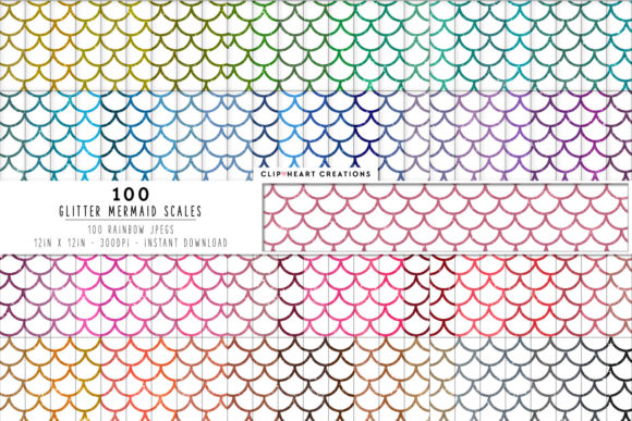 100 Mermaid Glitter Scale Papers Graphic Backgrounds By clipheartcreations